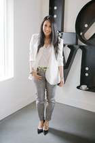 white Helmut Lang blazer - white Alexander Wang t-shirt - silver H&M pants