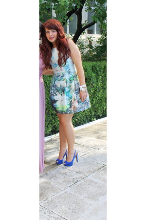 aquamarine Zara dress - blue Stradivarius heels