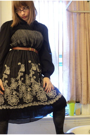 vintage shirt - Rampage tights - vintage skirt - vintage belt