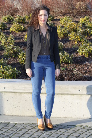 sheer Zara blouse - Cheap Monday jeans - leather Aldo wedges
