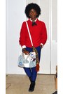 Red-thrifted-vintage-sweater-white-thrifted-vintage-shirt-white-sak-bag