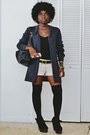Black-label-shoes-black-american-apparel-leggings-beige-vintage-shorts