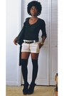 Black-label-shoes-black-american-apparel-leggings-beige-vintage-shorts
