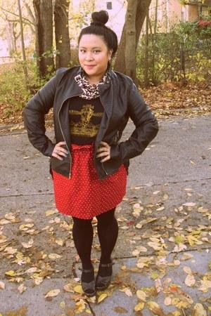 DIY skirt - blue rivet jacket - HUE tights - leopard print DIY scarf