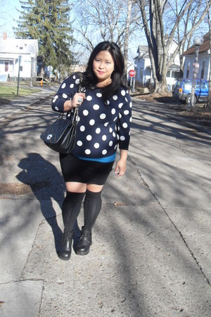 navy polka dots Old Navy jumper - black leather Deena & Ozzy boots
