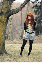 yellow vintage shirt - brown Minnetonka shoes - black modcloth tights