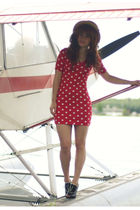 red modcloth dress - black Forever 21 shoes - beige Claires hat