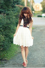 White-forever-21-dress-black-hand-me-down-scarf-orange-modcloth-shoes