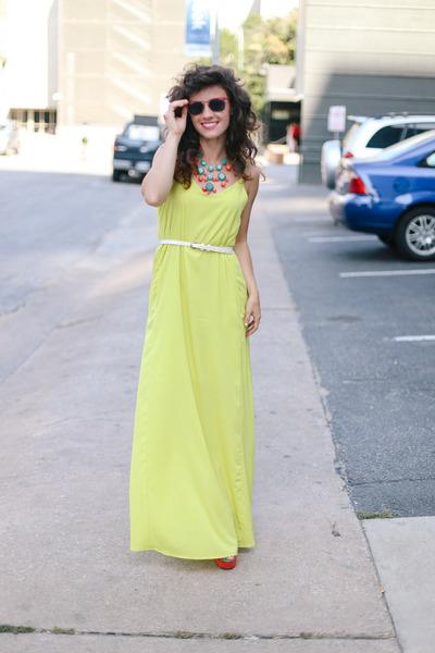 turquoise blue similar Francescas Collection necklace - chartreuse Lulus dress
