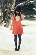 orange vintage dress - purple vintage shoes - black Wet Seal tights