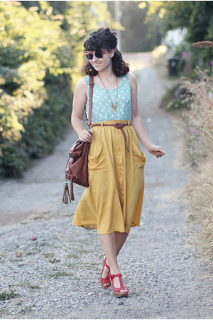 mustard modcloth skirt - aquamarine Lulus dress - dark brown Handbag Heaven bag