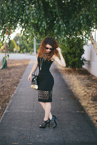 black modcloth dress - black Fossil bag - black Bon Look sunglasses