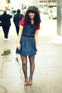 Red-guess-top-blue-forever-21-dress-red-vintage-shoes