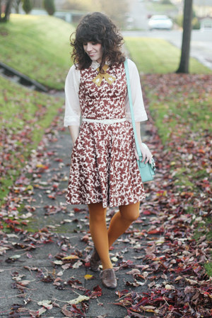 brown modcloth shoes - brown modcloth dress - mustard modcloth tights