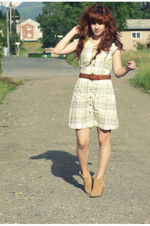 yellow free people dress - brown kensiegirl shoes