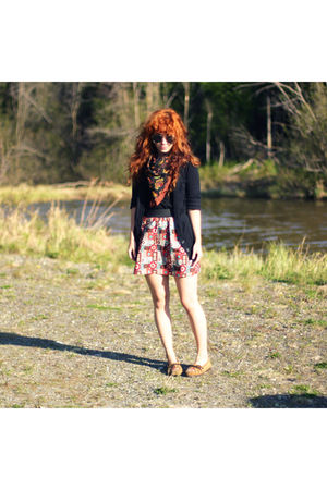 black Target cardigan - red handmade skirt - brown Minnetonka shoes