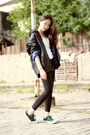 Polkas-uniqlo-leggings-knit-gaudi-top-leather-guess-hoodie