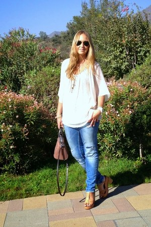 Zara jeans - Zara blouse - Stradivarius sandals