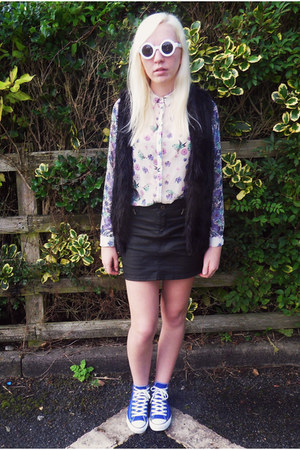 River Island shirt - asos sunglasses - Topshop vest - Converse sneakers