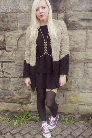 tan asos coat - black asos dress - black Topshop tights - gold Topshop necklace