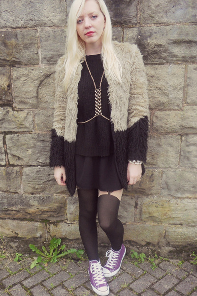 tan asos coat - black asos dress - black Topshop tights - gold Topshop necklace