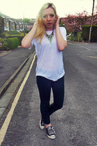 white Zara t-shirt - forest green River Island jeans - black Converse sneakers