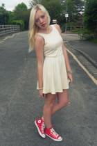 white asos dress - red Converse sneakers