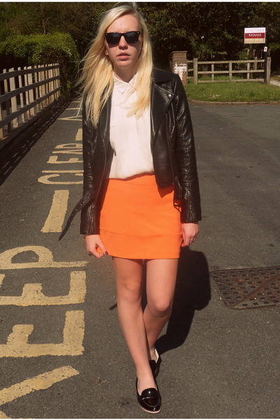 black Topshop jacket - white asos shirt - black Topshop flats