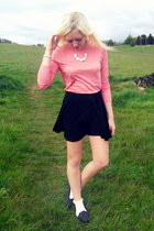 black Topshop skirt - white Topshop necklace - light pink Zara top