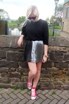 red sneakers - charcoal gray skirt - black jumper