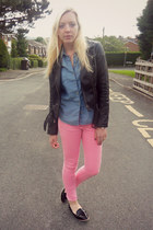 black Topshop jacket - bubble gum asos jeans - sky blue Topshop shirt