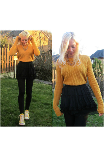 gold new look jumper - black unknown skirt - yellow Converse sneakers