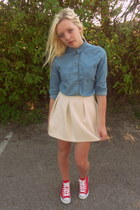 sky blue Topshop shirt - white asos skirt - red Converse sneakers