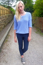 sky blue ark jumper - navy Topshop pants - black Converse sneakers
