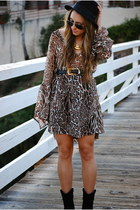 Millau dress - black Forever21 boots - black mens hat H&M hat