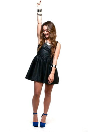 leather dress H&M dress - Forever21 pumps - Forever21 accessories