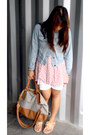 Light-blue-denim-cropped-jacket-navy-new-look-bag-white-shorts
