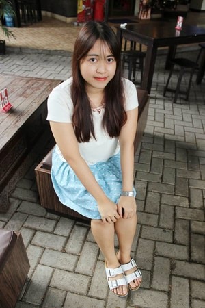 silver watch - white sandals - light blue skirt - gold necklace - ivory blouse