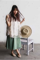 beige straw hat - green polkadot skirt - beige flats - off white lace blouse