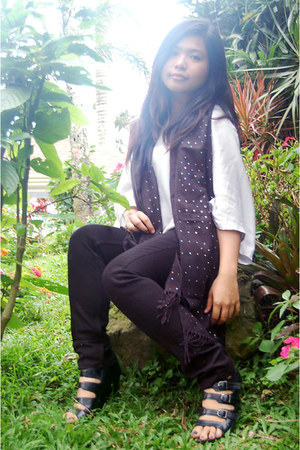 black Figlia wedges - black Mango pants - sky blue Plains and Prints blouse