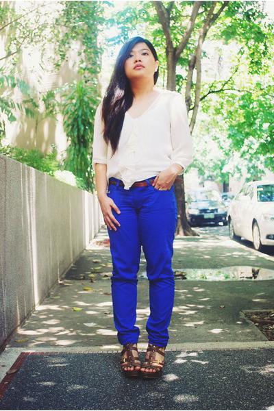 blue Bayo pants - white Zara blouse - brown Aldo wedges