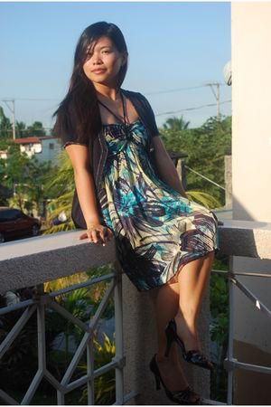 blue unica hija cardigan - black vnc shoes - green random dress