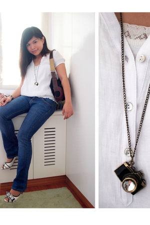 white Zara blouse - blue Levis jeans - white Charles & Keith shoes - gold from b