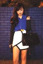 black and white beginning boutique skirt - black Prada bag