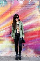 black leather Ebay boots - asos jacket - Dotti leggings - Sportsgirl top