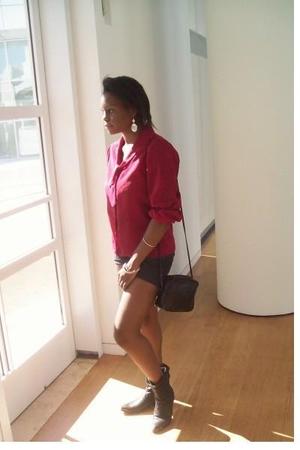 shirt - thrifty purse - Goodwill boots - downtown la earrings - downtown la brac