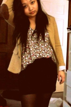 elbow pad H&M blazer - floral print H&M shirt - H&M skirt