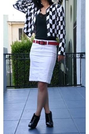 vintage jacket - Banana Republi top - Diesel belt - Armani Exchange skirt - Miu