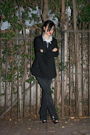 Helmut Lang blazer - self-made sweater - CurrentElliott jeans - Miu Miu shoes
