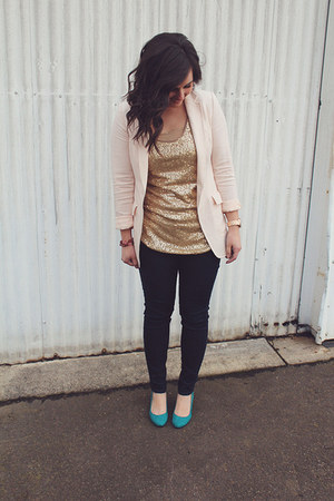 sequin top top - Rock&Republic jeans - H&M blazer - Shoedazzle wedges